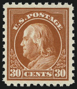 Sale Number 1061, Lot Number 3953, 1915-17 Washington-Franklin Issues (Scott 460-518b)30c Orange Red, Perf 10 (476A), 30c Orange Red, Perf 10 (476A)