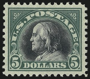 Sale Number 1061, Lot Number 3987, 1917-22 Issues (Scott 519-573)$5.00 Deep Green & Black (524), $5.00 Deep Green & Black (524)