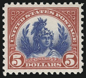Sale Number 1061, Lot Number 4010, 1917-22 Issues (Scott 519-573)$5.00 Carmine & Blue (573), $5.00 Carmine & Blue (573)