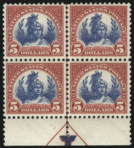Sale Number 1061, Lot Number 4013, 1917-22 Issues (Scott 519-573)$5.00 Carmine & Blue (573), $5.00 Carmine & Blue (573)