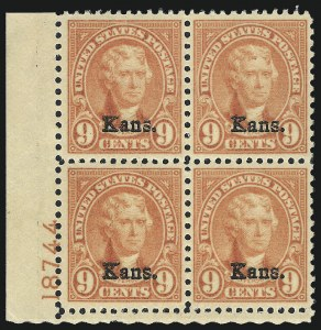 Sale Number 1061, Lot Number 4034, 1923 and Later Issues (Scott 575-1688)9c Kans. Ovpt. (667), 9c Kans. Ovpt. (667)
