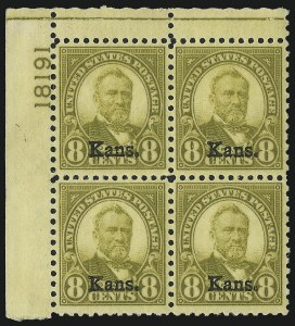 Sale Number 1061, Lot Number 4036, 1923 and Later Issues (Scott 575-1688)8c Kans. Ovpt. (666), 8c Kans. Ovpt. (666)