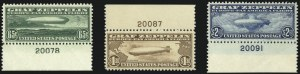 Sale Number 1061, Lot Number 4055, Air Post65c-$2.60 Graf Zeppelin (C13-C15), 65c-$2.60 Graf Zeppelin (C13-C15)