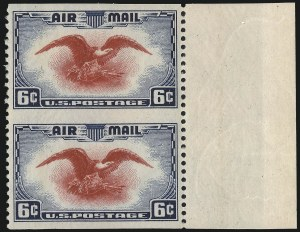 Sale Number 1061, Lot Number 4084, Air Post6c Dark Blue & Carmine, Vertical Pair, Imperforate Horizontally (C23a), 6c Dark Blue & Carmine, Vertical Pair, Imperforate Horizontally (C23a)