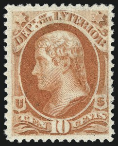 Sale Number 1061, Lot Number 4189, Officials, Cont.10c Interior, Soft Paper (O100), 10c Interior, Soft Paper (O100)
