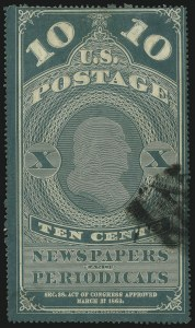 Sale Number 1061, Lot Number 4214, Newspapers and Periodicals thru Parcel Post10c Blue Green, Colored Border (PR2), 10c Blue Green, Colored Border (PR2)