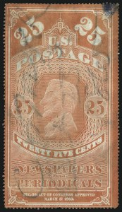 Sale Number 1061, Lot Number 4215, Newspapers and Periodicals thru Parcel Post25c Orange Red, Colored Border (PR3), 25c Orange Red, Colored Border (PR3)
