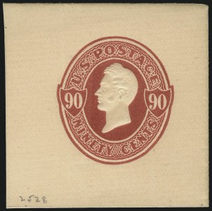 Sale Number 1061, Lot Number 4252, Postal Stationery90c Carmine on Cream, Die 70, 1876 Centennial Special Printing, Full Corner (U213 var), 90c Carmine on Cream, Die 70, 1876 Centennial Special Printing, Full Corner (U213 var)