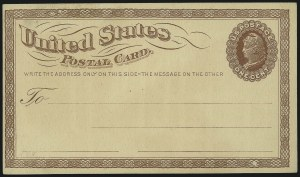 Sale Number 1061, Lot Number 4259, Postal Stationery1c Brown on Buff, Large Watermark, Postal Card (UX1), 1c Brown on Buff, Large Watermark, Postal Card (UX1)