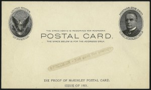 Sale Number 1061, Lot Number 4261, Postal Stationery1c Black on Buff, Full-Face McKinley Postal Card Proof (UX17P), 1c Black on Buff, Full-Face McKinley Postal Card Proof (UX17P)