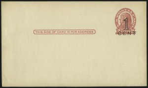 Sale Number 1061, Lot Number 4262, Postal Stationery1c on 2c Red on Buff, Die I and Die II Postal Cards, Press-Printed Surcharges (UX34-UX35), 1c on 2c Red on Buff, Die I and Die II Postal Cards, Press-Printed Surcharges (UX34-UX35)