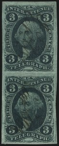 Sale Number 1061, Lot Number 4272, Revenues3c Telegraph, Imperforate (R19a), 3c Telegraph, Imperforate (R19a)