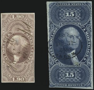 Sale Number 1061, Lot Number 4284, RevenuesPair of Potentially Rare First Issue Revenues, Pair of Potentially Rare First Issue Revenues