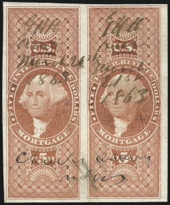 Sale Number 1061, Lot Number 4287, Revenues$5.00 Mortgage, Imperforate (R91a), $5.00 Mortgage, Imperforate (R91a)