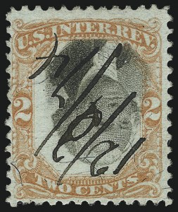 Sale Number 1061, Lot Number 4312, Revenues, Cont.2c Orange & Black, Third Issue, Inverted Center, Violet and Green Paper (R135b, R151b), 2c Orange & Black, Third Issue, Inverted Center, Violet and Green Paper (R135b, R151b)