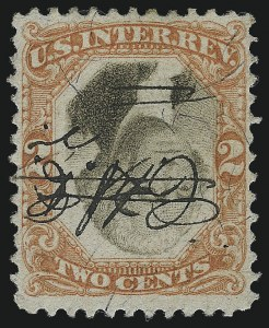 Sale Number 1061, Lot Number 4313, Revenues, Cont.2c Orange & Black, Third Issue, Inverted Center, Violet and Green Paper (R135b, R151a), 2c Orange & Black, Third Issue, Inverted Center, Violet and Green Paper (R135b, R151a)