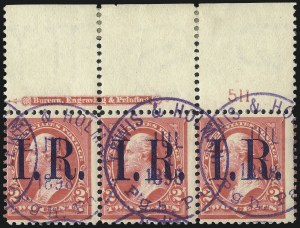 "Sale Number 1061, Lot Number 4316, Revenues, Cont.2c Pink, Ty. III, Blue ""I.R."" Ovpt. (R155), 2c Pink, Ty. III, Blue ""I.R."" Ovpt. (R155)"