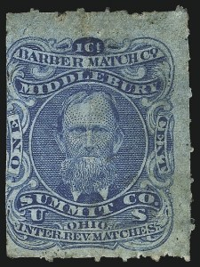 Sale Number 1061, Lot Number 4330, Private Die Match Stamps, Akron thru Wm. GatesBarber Match Co., 1c Blue, Watermarked, Rouletted (RO18d), Barber Match Co., 1c Blue, Watermarked, Rouletted (RO18d)