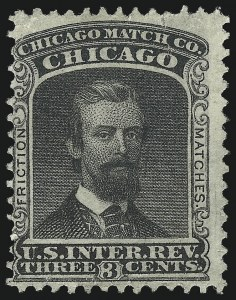 Sale Number 1061, Lot Number 4347, Private Die Match Stamps, Akron thru Wm. GatesChicago Match Co., 3c Black, Old Paper (RO60a), Chicago Match Co., 3c Black, Old Paper (RO60a)