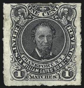 Sale Number 1061, Lot Number 4352, Private Die Match Stamps, Akron thru Wm. GatesWilliam Gates' Sons, 1c Black, Rouletted (RO93d), William Gates' Sons, 1c Black, Rouletted (RO93d)