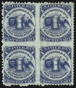 Sale Number 1061, Lot Number 4447, Private Die Medicine Stamps, Kelly thru ZeilinS. Mansfield & Co., 1c Blue, Silk Paper, Block of Four, Imperforate Between (RS174bj), S. Mansfield & Co., 1c Blue, Silk Paper, Block of Four, Imperforate Between (RS174bj)