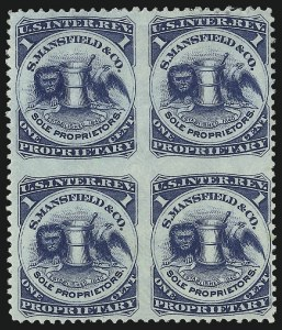 Sale Number 1061, Lot Number 4451, Private Die Medicine Stamps, Kelly thru ZeilinS. Mansfield & Co., 1c Blue, Watermarked, Block of Four, Imperforate Between (RS174dj), S. Mansfield & Co., 1c Blue, Watermarked, Block of Four, Imperforate Between (RS174dj)
