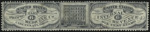 Sale Number 1061, Lot Number 4477, Private Die Medicine Stamps, Kelly thru ZeilinUnited States Proprietary Medicine Co., 6c Black, Old Paper (RS244a), United States Proprietary Medicine Co., 6c Black, Old Paper (RS244a)