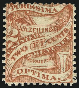 Sale Number 1061, Lot Number 4487, Private Die Medicine Stamps, Kelly thru ZeilinJ. H. Zeilin & Co., 2c Red, Silk Paper (RS275b), J. H. Zeilin & Co., 2c Red, Silk Paper (RS275b)