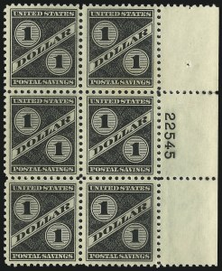Sale Number 1061, Lot Number 4555, Postal Savings and Postage Currency$1.00 Black, Postal Savings (PS10), $1.00 Black, Postal Savings (PS10)