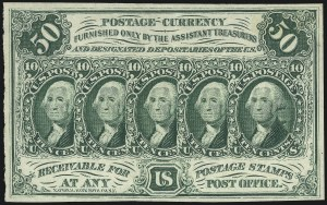 "Sale Number 1061, Lot Number 4559, Postal Savings and Postage Currency5c-50c Postage Currency, Without ""ABCo"" Imprint, Imperforate (PC13-PC16), 5c-50c Postage Currency, Without ""ABCo"" Imprint, Imperforate (PC13-PC16)"