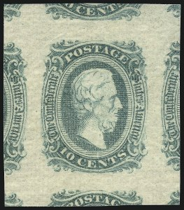 Sale Number 1061, Lot Number 4568, Confederate States10c Greenish Blue, Die A (11), 10c Greenish Blue, Die A (11)