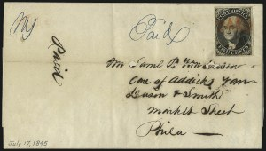 Sale Number 1062, Lot Number 11, Postmasters ProvisionalsNew York N.Y., 5c Black, Without Signature (9X1e), New York N.Y., 5c Black, Without Signature (9X1e)