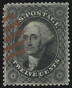 Sale Number 1062, Lot Number 154, 10c-90c 1857-60 Issue (Scott 31-39)12c Black, Plate 1 (36), 12c Black, Plate 1 (36)