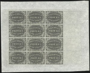 Sale Number 1062, Lot Number 18, Postmasters ProvisionalsProvidence, Rhode Island, 5c & 10c Gray Black, Bogert & Durbin Second Reprint Sheet of Twelve (10X1-10X2R), Providence, Rhode Island, 5c & 10c Gray Black, Bogert & Durbin Second Reprint Sheet of Twelve (10X1-10X2R)