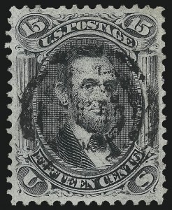 Sale Number 1062, Lot Number 285, 1867-68 Grilled Issue (Scott 79-101)15c Black, F. Grill, Very Thin Paper (98 var), 15c Black, F. Grill, Very Thin Paper (98 var)