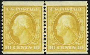 Sale Number 1062, Lot Number 536, 1904-07 Commemoratives, 1908-10 Washington-Franklin Issues (Scott 326-356)10c Yellow, Coil, (356), 10c Yellow, Coil, (356)