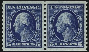 Sale Number 1062, Lot Number 635, 1913-15 Washington-Franklin Issues (Scott 424-449)5c Blue, Coil (447), 5c Blue, Coil (447)