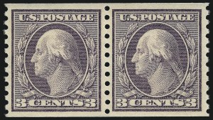 Sale Number 1062, Lot Number 651, 1913-15 Washington-Franklin Issues, cont. (Scott 450-461)3c Violet, Ty. I, Coil (456), 3c Violet, Ty. I, Coil (456)