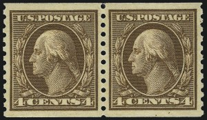 Sale Number 1062, Lot Number 654, 1913-15 Washington-Franklin Issues, cont. (Scott 450-461)4c Brown, Coil (457), 4c Brown, Coil (457)