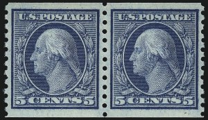 Sale Number 1062, Lot Number 656, 1913-15 Washington-Franklin Issues, cont. (Scott 450-461)5c Blue, Coil (458), 5c Blue, Coil (458)