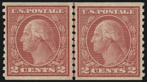 Sale Number 1062, Lot Number 684, 1917-19 Issues (Scott 481-524)2c Carmine, Ty. II, Coil (491), 2c Carmine, Ty. II, Coil (491)