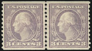 Sale Number 1062, Lot Number 689, 1917-19 Issues (Scott 481-524)3c Violet, Ty. II, Coil (494), 3c Violet, Ty. II, Coil (494)
