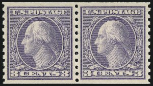 Sale Number 1062, Lot Number 690, 1917-19 Issues (Scott 481-524)3c Violet, Ty. II, Coil (494), 3c Violet, Ty. II, Coil (494)