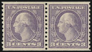 Sale Number 1062, Lot Number 691, 1917-19 Issues (Scott 481-524)3c Violet, Ty. II, Coil (494), 3c Violet, Ty. II, Coil (494)