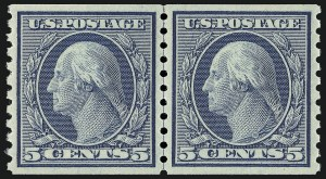 Sale Number 1062, Lot Number 694, 1917-19 Issues (Scott 481-524)5c Blue, Coil (496), 5c Blue, Coil (496)