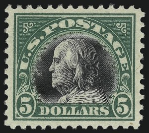 Sale Number 1062, Lot Number 717, 1917-19 Issues (Scott 481-524)$5.00 Deep Green & Black (524), $5.00 Deep Green & Black (524)