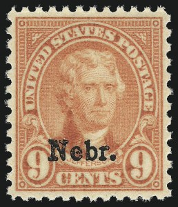 Sale Number 1062, Lot Number 767, 1922 and Later Issues (Scott 551-3260)9c Nebr. Ovpt. (678), 9c Nebr. Ovpt. (678)