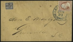 Sale Number 1063, Lot Number 1672, Carrier Departments: Baltimore thru New YorkHonour's City Express, Charleston S.C., 2c Black on Bluish (4LB8), Honour's City Express, Charleston S.C., 2c Black on Bluish (4LB8)