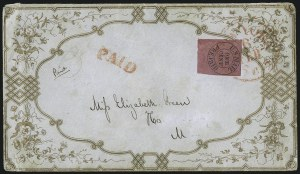 Sale Number 1063, Lot Number 1681, Carrier Departments: Baltimore thru New YorkU.S. Mail, New York N.Y., 1c Black on Rose (6LB9), U.S. Mail, New York N.Y., 1c Black on Rose (6LB9)
