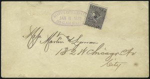 Sale Number 1063, Lot Number 1721, Local Posts: Adams thru Cummings & WrightAllen's City Dispatch, Chicago Ill., (unstated value) Black (3L2), Allen's City Dispatch, Chicago Ill., (unstated value) Black (3L2)